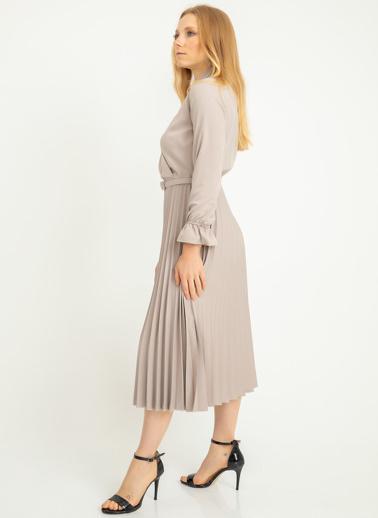 Foremia Atlas Piliseli Ceket Yaka Elbise Uzun Kol Taş